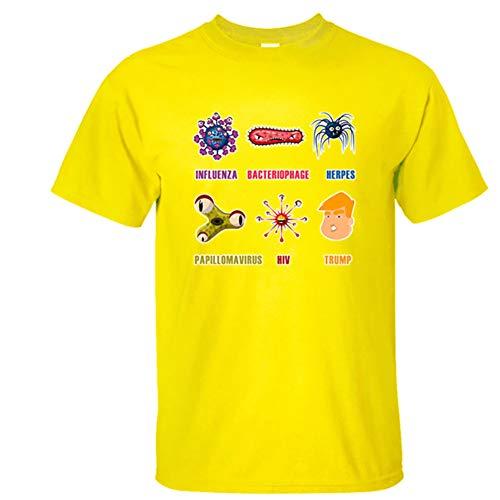 W&TT T-Shirt Trump 2020 per Uomo, CO-VID-19 Stampa Girocollo Manica Corta T-Shirt personalità Divertente,Giallo,XS
