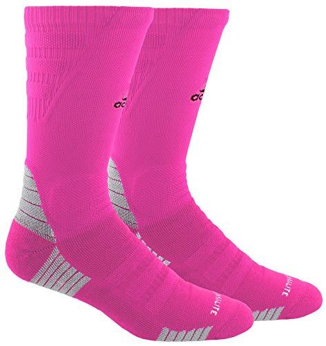 adidas Unisex-US Alphaskin Maximum Cushioned Crew Socks (1-Pair), Shock Pink/Black/Light Onix, 9.5-12