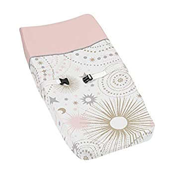 Blush Pink Gold Grey and White Star and Moon Changing Pad Cover for Celestial Collection by Sweet Jojo Designs