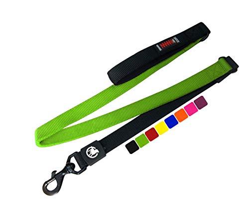 DDOXX Hundeleine Bungee Nylon 120 cm | viele Farben & Größen | für kleine & große Hunde | Elastische Leine Hund groß | Ruckdämpfer Hunde-Leinen klein | Flexi-Leine | Führleine | Grün, 1,20 m