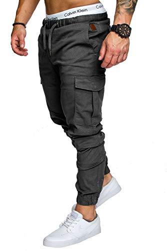 Amaci&Sons Jogger Cargo Herren Chino Jeans Hose 7001 Anthrazit W32