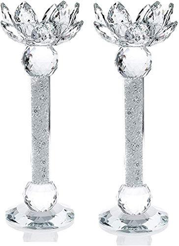 NVT Tea Light Dinner Candle Holder Set 2 Cristal de Flor de Loto Superior Decorativo