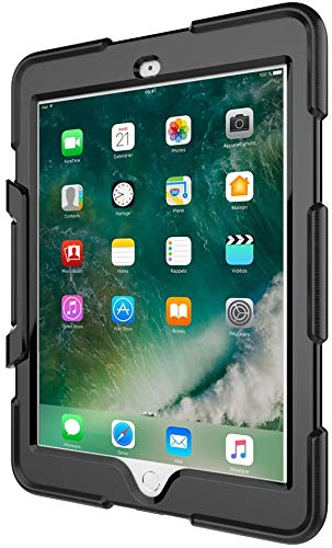TECHGEAR G-SHOCK Case for iPad Air 9.7' (1st Generation) Tough Rugged Heavy Duty Armour Shockproof Survival Protective Case with Detachable Stand - Kids Work School Builders Case (Black)