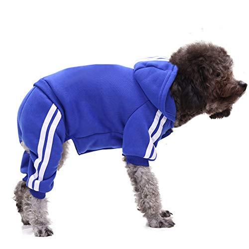 DULEE Ropa Perro Grande,Cálido Sudadera con Capucha para Perros Algodón Suéter Chaqueta Abrigo Costume Pullover para Mascota Perro Gato,Dunkel Blau L