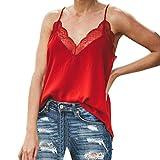 HIRIRI Women Silk Tank Tops Satin Camisole Plain Strappy Vest Top Sleeveless Blouse Casual Lace Trim Shirts Red