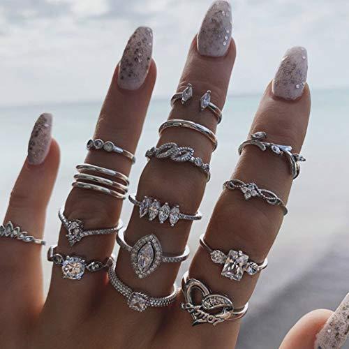 Aukmla - Set di anelli per nocche in cristallo vintage a forma di cuore, in argento, impilabili, dimensioni midi, per donne e ragazze, 15 pezzi