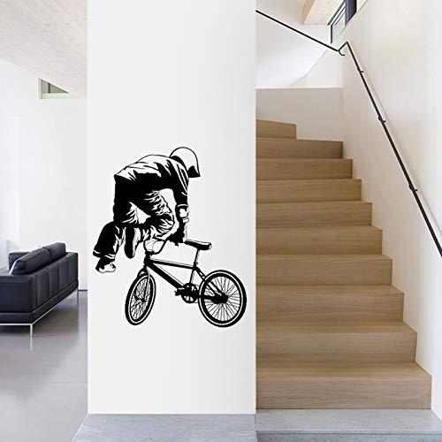 Tianpengyuanshuai Adesivo murale BMX Personalizzato Sport Poster Decalcomania della Parete del Vinile Decorazione murale Finestra Bici Decalcomania di Vetro 87X102 cm