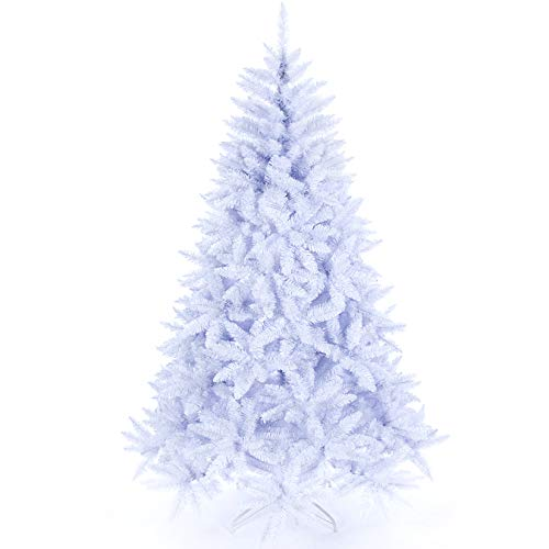Artificial Christmas Tree Classic Xmas Pine Tree with Solid Metal Stand 5/6/7 FT Unlit White