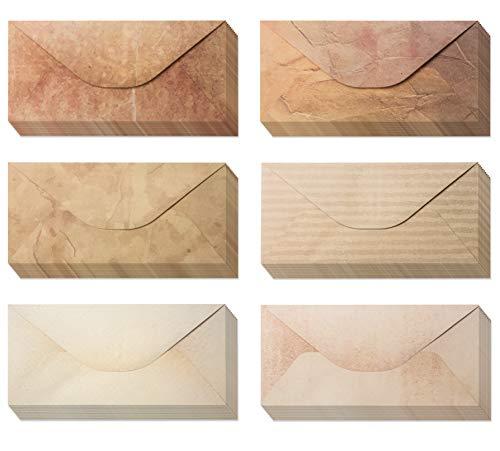?Pack 48 ?Vintage Envelopes - Vintage Style Envelopes - Classic Aged Envelopes in 6 Unique Designs - Old Looking Envelopes- Antique Style Envelopes- 4 x 8.7 inches (48 Pack)