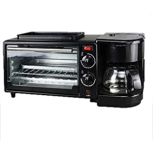 Kitchen Appliances Electric oven frying pan coffee maker three-in-one breakfast machine, drip coffee maker fried roasting multi-function toaster, non-stick easy to clean 30 minutes control toaster