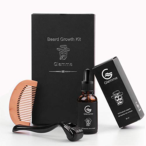 Beard Growth Kit - 0.5mm Beard Derma Roller + Beard Growth Oil Serum for Men Patchy Facial Hair Growth Best Microneedle Gift for Men