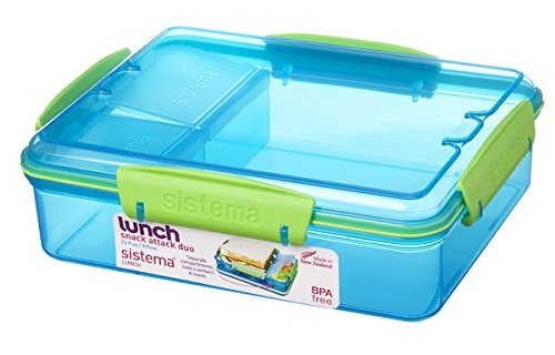 Sistema 3-Fach Geteilte Brotbox 975 ml Lunchbox 19,7 x 15,8 x 6 cm (LxBxH) Vesperbox (Blau)