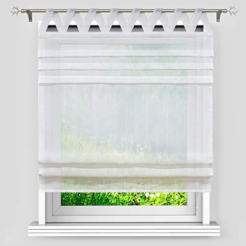 Heichkell Einfarbige Raffrollos »bauo« Transparente Raffgardine mit Schlaufen Gardine aus Leinen mit Wellenförmiger Schlaufen Vorhang Küche Weiß#1 B×H 120×140 cm
