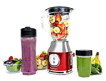 Classic Retro Electric Pulse Blender 1 Liter Glass Pitcher Includes Tritan Personal Travel Bottle With Lid And Storage Container High Power 300 Watts Crushes And Pulverizes Ice Cubes