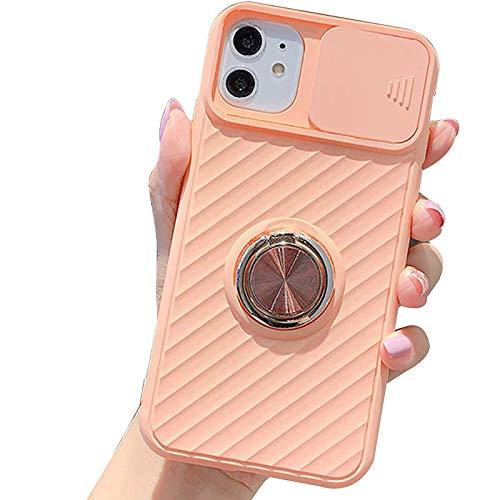 Funda Compatible para Iphone11/11Pro/11Pro MAX Cubierta Deslizante para La Cámara Transparente con Función de Soporte Anti Choque Ultra Delgado TPU Protección Back Cover,Rosado,XS MAX