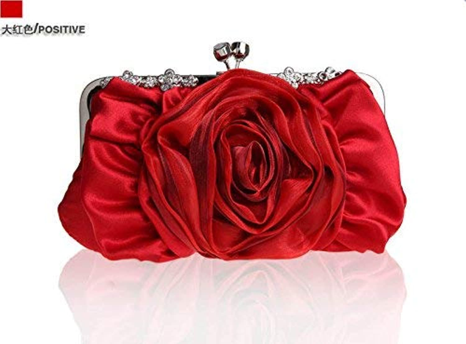 Ladies Handbag The Package of The Package-color Flowers Package Dinner Package Bridal Packages Wedding Packages Silk Women's Handbags, Cross-Party-Style Small-Package (color   The Red)