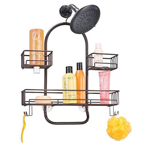 mDesign Estantería de ducha para colgar – Accesorios de ducha sin taladros – Colgador de ducha de metal con tres cestas y dos ganchos dobles para toda clase de accesorios – color bronce