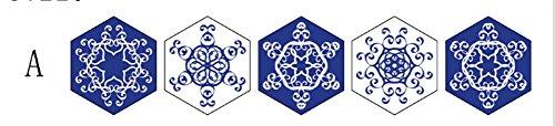 CHUANGMEI Hexagonal blau und weiß Porzellan Fliesen Aufkleber Wohnzimmer Schlafzimmer Küche Aufkleber Dekorative Wandaufkleber, A
