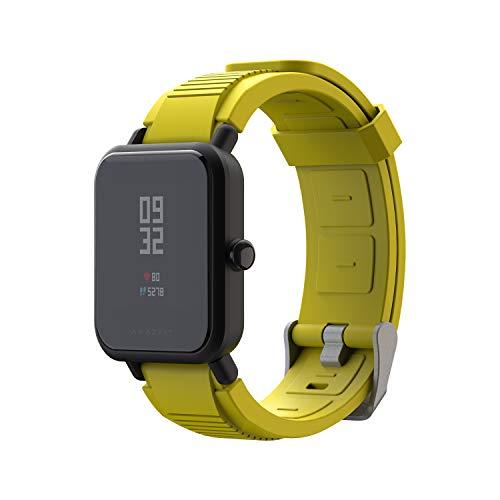 SIKAI CASE 20mm Deportes de Silicona Correa de Reloj Compatible con Amazfit Bip/Garmin Vivoactive 3 / Galaxy Watch 42mm / Gear Sport Reemplazo de Banda Pulsera - Lanzamiento Rápido (20mm, Amarillo)