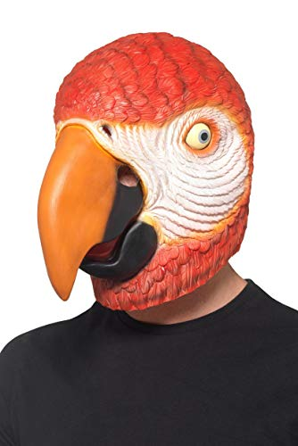 Smiffy's 49020 Parrot Latex Mask, Unisex-Adult, Red, One Siz