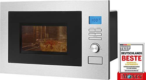 Bomann MWG 3001 H EB - Microondas 3 en 1 empotrado con parrilla y aire caliente, pantalla LCD, 8 programas automáticos, función de temporizador, 25 L, interior y frontal de acero inoxidable