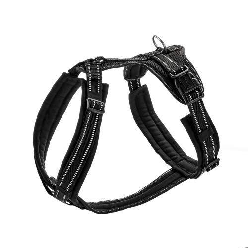 HUNTER MALDON Hundegeschirr, gepolstert, reflektierend, für Sport und Freizeit, L, schwarz
