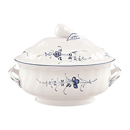 Villeroy und Boch Vieux Luxembourg Terrine, Premium Porzellan, weiß/blau