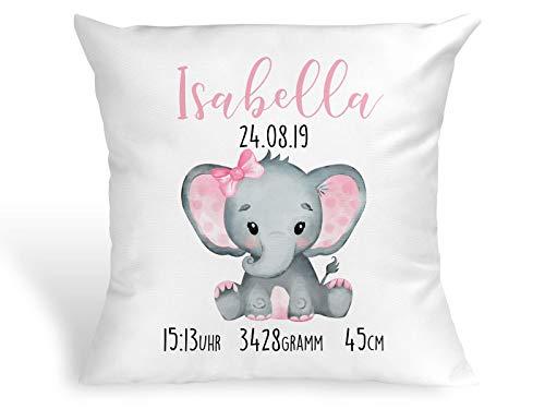 Personalisiertes Kissen mit Elefant Geschenk zur Geburt oder Taufe mit Namen und Datum Mädchen