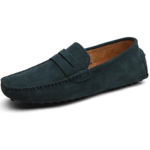 Jamron Herren Wildleder Penny Loafers Gemütlich Fahrende Schuhe Mokassin Slippers Grün 2088 UK6.5/EU40