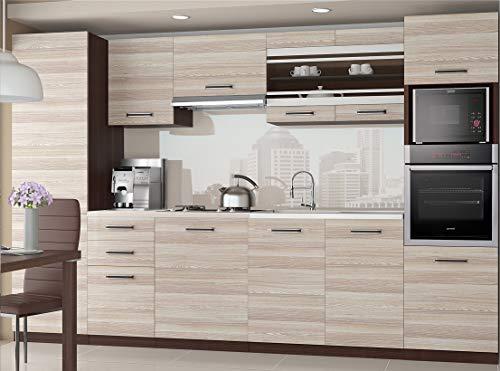 Tarraco Commercial - Mobili da cucina completi, modello Syntka, colore acacia, 300 cm