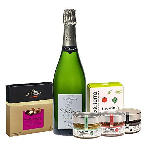 Coffret Cadeau Champagne et chocolat - Panier Gourmand - Champagne Brut, trio d'apéro bio et biscuits Aix et Terra, Coffret Valrhona Amandes et Noisettes Chocolat Grand Cru Noir et Lait