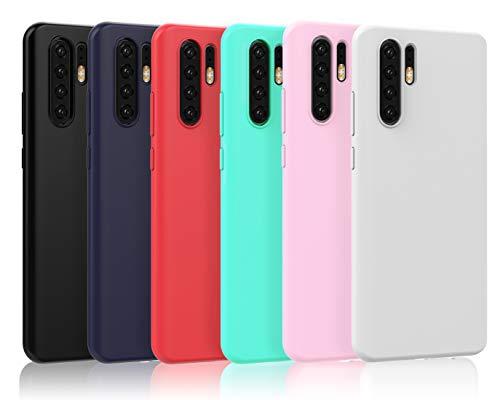 VGUARD [6 Pack] Cover per Huawei P30 PRO, Ultra Sottile Silicone Custodia Morbido TPU Case Protettivo Gel Cover per Huawei P30 PRO (Nero, Blu Scuro, Rosso,Verde, Rosa,Trasparente)