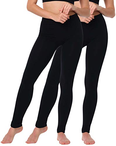 Yenita Damen Seamless Thermoleggings mit warmen Innenfleece im 2er Pack, Winter Thermo Legging in Schwarz, GR: L/XL