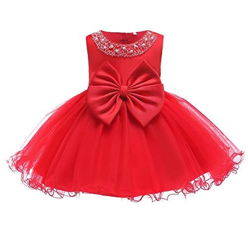 FYMNSI Vestido de niña para fiesta de cumpleaños o bautizo, con lazo, tutú de princesa, dama de honor, vestido de verano, 0 a 24 meses rojo 12-18 Meses