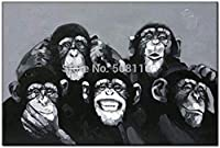 PLLP ノベルティフレームレスウォールはホーム回廊リビングルームベッドルームのために描いたキャンバスの手で、油絵、おかしい家族の肖像猿サルアニマル柄デザイン北欧絵画の写真アートの壁のポスター抽象近代絵画,60X90Cm(24X36Inch)いいえフレーム,60X90Cm(24X36Inch)いいえフレーム