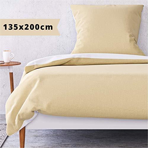 Wolkenfeld Bettwäsche 135x200 Taupe Weiß - kuschelig weich, bügelfrei & atmungsaktiv - 2teilig Bettbezug + Kissenbezug 80x80
