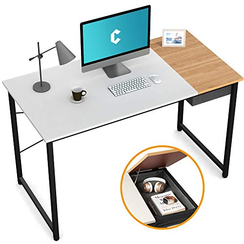 Cubiker Computer Desk 55' Home Office Writing Study Laptop Table, Modern Simple Style Desk with Drawer, White Natural
