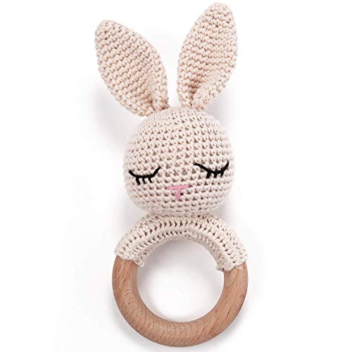 Teething Ring Crochet Bunny with Integrated Baby Rattle, Grasping Toy Wood and Cotton | Gift for Birth, Baby Shower, Handmade Rattle for Baby & Children Boys / Girls (Rabbit)
