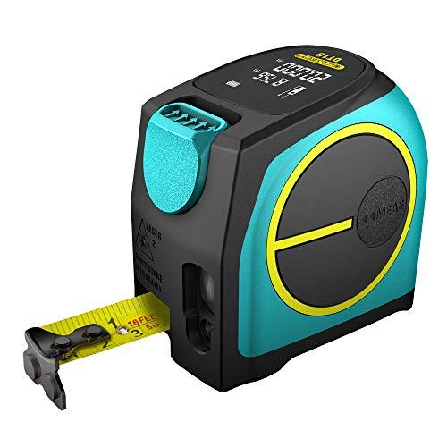 Mileseey Laser Tape-Bandmaß 40 M / 131 Fuß, Maßband mit Wiederaufladbarem Akku und Laser-Technologie, Profi-Rollmaßband Messband Meterband Digital Großes LCD-Display Magnet-Haken