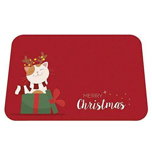Sottociotola natalizio per gatti   Idea regalo tappetino per ciotole a tema natale per gatti tovaglietta sottociotola antigraffio antiscivolo lavabile, 45x30 cm merry christmas (TCAT-XMAS)