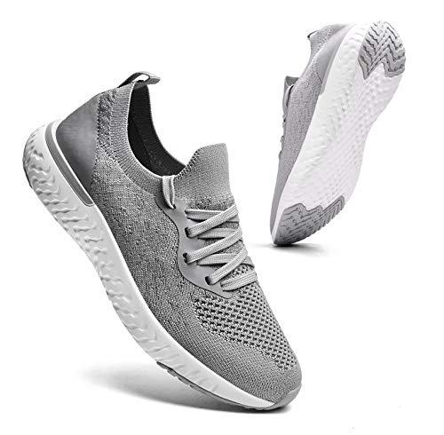 Sosenfer Turnschuhe Damen Herren Sneaker Sportschuhe Laufschuhe Atmungsaktiv Leichtgewichts Walkingschuhe-Grau06-38
