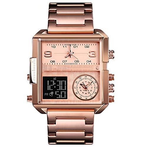 Reloj De Pulsera para Hombres,Reloj Digital con 3 Tiempos 3Atm Alarma Impermeable LED Luminoso Cronómetro Reloj De Negocios con Caja Mejor Regalo para Hombre,D