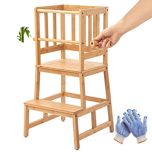 COSYLAND Aggiornamento dello Sgabello Torre di Apprendimento in bambù con Barra di Sicurezza per Bambini dai 18 Mesi ai 3 Anni per Imparare Il Bancone Cucina