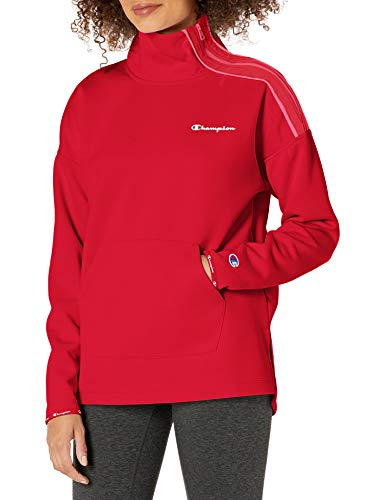 Champion Women's Mock Neck, Cranberry Red/Deep Raspberry, Medium