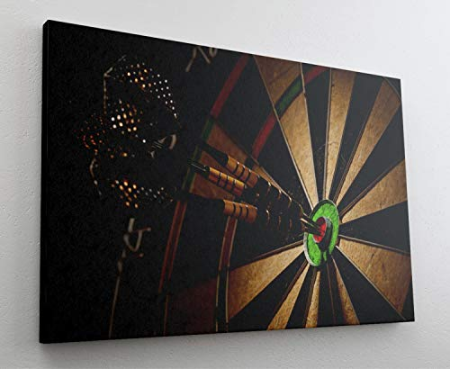 Fotografie Dart Pfeile Scheibe Leinwand Canvas Bild Wandbild Kunstdruck L1916 Größe 70 cm x 50 cm