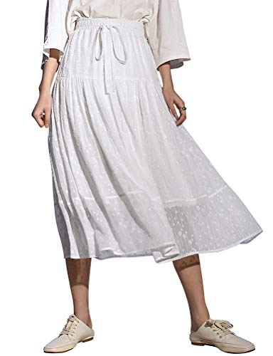 Ezcosplay Women Elastic High Waist Tie Gauze Skirt Layered Pleated A-Line Skirt White
