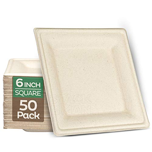 100% Compostable Square Paper Plates [6x6 inch - 50-Pack] Elegant Disposable Plates Heavy-Duty Quality, Natural Bagasse Unbleached, Eco-Friendly Made of Sugar Cane Fibers, 6' Biodegradable Plate