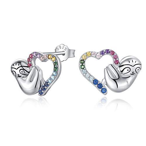 Qings Heart Sloth Stud Earrings 925 Sterling Silver - Cubic Zirconia Animal Earrings for Women Animal Studs Earrings for Sensitive Ears