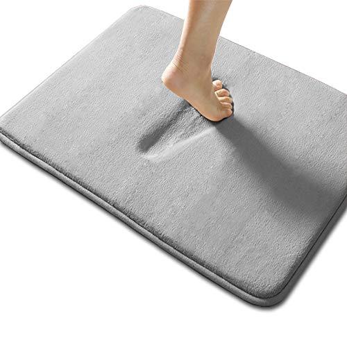 "Memory Foam Bath Mat 20"" X 32"" AbsorbentSuperCozy Soft Non-Slip Coral Velvet Bathroom Rug Easier to Dry Machine Wash Bathroom Carpet, Gray"