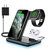 WAITIEE Wireless Charger, 3 in 1 Qi-Certified 15W Fast Charging Station for Apple iWatch Series 5/4/3/2/1,AirPods, Compatible with iPhone 11 Series/XS MAX/XR/XS/X/8/8 Plus/Samsung (Black)